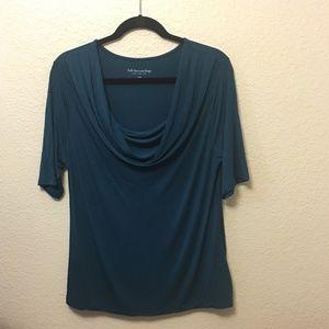 Soft Surroundings Blouse Drape Cowl Dark Teal Blue